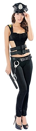 CHIC!, Women's Zip Up Halter Top Cut Out Sides Police Officer Costume SC54