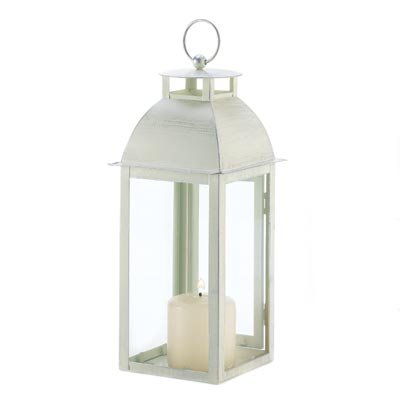 Gifts & Decor Home Garden Distressed Candle Holder Lantern Stand, Ivory