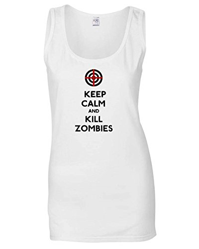 Cotton Island - Canottiera Donna TZOM0007 keep calm and kill zombies, Taglia L