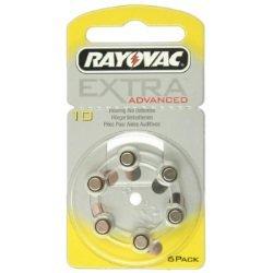 RAYOVAC eXTRA hörgeräte-r10 jaune 6 piles sous blister