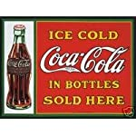 1865 EXTRA LARGE ICE COLD COCA COLA IN BOTTLES SOLD HERE METAL ADVERTISING WALL SIGN RETRO ART