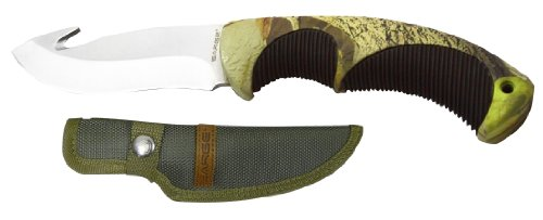 Sarge Knives Sk-913 Camo Gut Hook Fixed Blade Knife With 4-Inch Stainless Blade And Camo Ergonomic