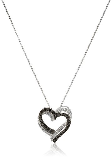 10k-White-Gold-Black-and-White-Diamond-Double-Heart-Pendant-Necklace-15-cttw-I-J-Color-I2-I3-Clarity