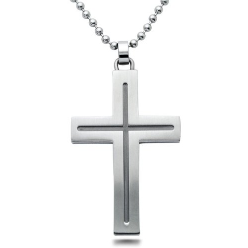 Stainless Steel Cross Pendant Necklace 44 mm