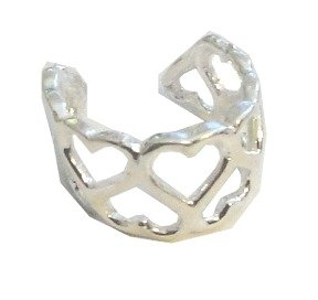 Sterling Silver Left Or Right Nonpiercing Heart Pattern Ear Cuff