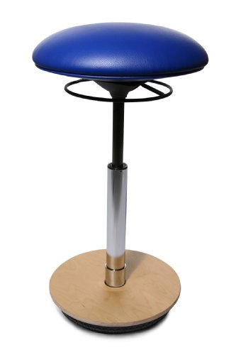 ST60S18 Drehhocker Sitness 26   Bezugstoff royalblau   Fussplatte Holz