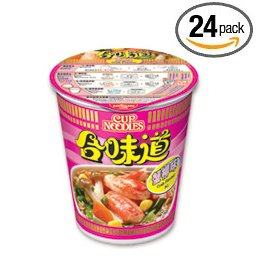 Nissin Seafood Crab Instant Authentic HK Japanese Ramen Cup Of Noodles Soup (24 Pack)