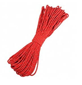 RED 50 ft 550lb 7 Strand Reflective Parachute Cord Rope / Outdoor Core Camping Hiking Survival Emeregency Gadget Item Product Store Shop Extension Duty Good Rugged Fishing Garden Home Patio Trekking Stuff Hiker 550 Bracelet Strength Tent Holding Shock Strong Hard Quality Kit Set Nylon Elastic Long Cording Trek Hunting Climbing Lightweight Unique Colored Twisted Stretchy Strap Belt Camp Hike Home House Travel