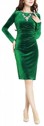 Eyekepper Fashion Women Slim Gold Velvet Long-Sleeve Velvet Pleated Dress