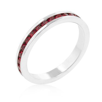JULY SPECIAL - CUBIC ZIRCONIA BAND - Ruby Red CZ Eternity Wedding Band