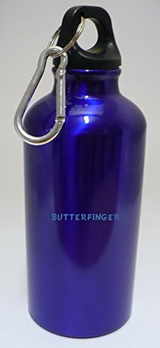 personalized-water-flask-bottle-with-carabiner-with-text-butterfinger-first-name-surname-nickname