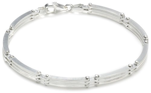 Silver 3 Bar Flexi Bracelet 18cm