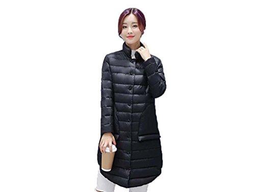 Jack Mall- Abbigliamento invernale Fashion Trend Stand Up Collar Luce Down Jacket Donna nella sezione lunga Slim cappotto del rivestimento ( colore : Nero , dimensioni : L. )