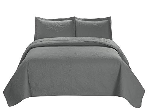 3 Piece MIKANOS Ultrasonic Embossed Bedspread Set-Oversized Coverlet 100x106in, 118x106in (King, Gray) King