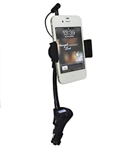 PUREX Technology DLX-29 all in one FM Transmitter, charger, and cellphone car mount for smartphone 3.5