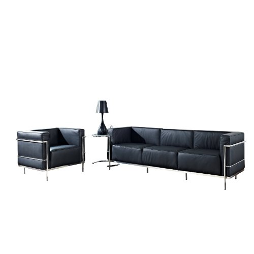 LexMod Leather Le Corbusier-Style LC3 Armchair and Sofa in Black with Eileen Gray Side Table