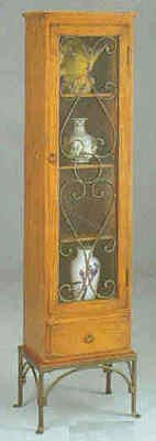 Image of Southwestern Style Pine Finish Wood & Metal Curio China Cabinet (VF_7384)