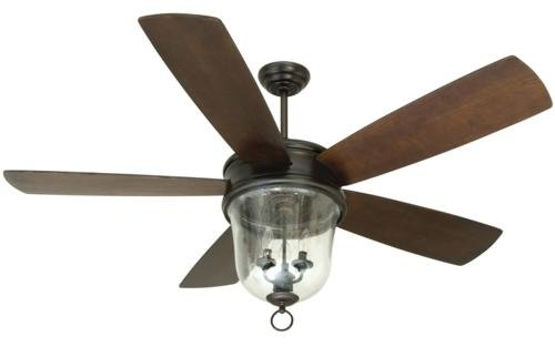 Craftmade Fans Fb60Obg Fredericksburg Collection 60-Inch Outdoor Ceiling Fan; Oil Bronze Motor Finish With Walnut Blades, Integrated Light And Hand-Held Remote Control