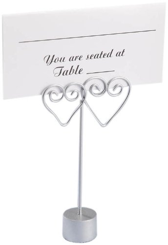 Darice 1406-40, Double Heart Wire Place Card Holder, 12-Piece, Silver