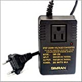 Simran SMF-200 Deluxe 200 Watts Step Down Voltage Converter for International Travel to AC 220V/240V Countries ~ Ideal for Laptops, Cameras, iPhones, Blackberry, iPods etc. ~ Simran