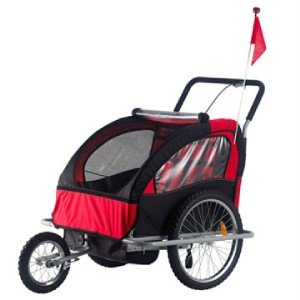 Aosom 2 In1 Double Baby Bike Trailer Stroller - Red