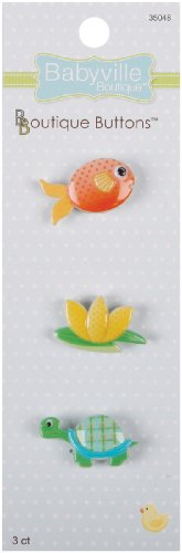 Babyville Boutique Buttons, Lily Pond, 3 Count front-77175