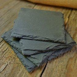 [해외]작은 슬레이트 칠판 사각형, 4 인치, 4 세트/Small Slate Chalkboard Squares, 4 inch, Set of 4