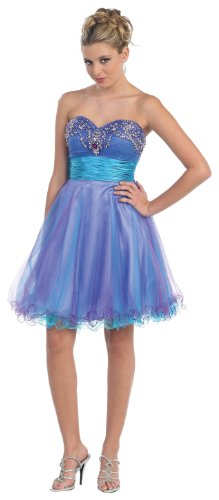 Strapless Cocktail Party Junior Prom Dress #651 (12, Turquoise/Purple)