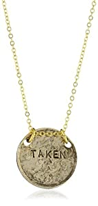 """Alisa Michelle """"Short and Sweet"""" 14K Gold Plated Double Sided Single and Taken Coin Necklace"""