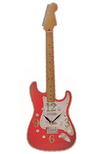 Bilderuhr-Gitarre-rot