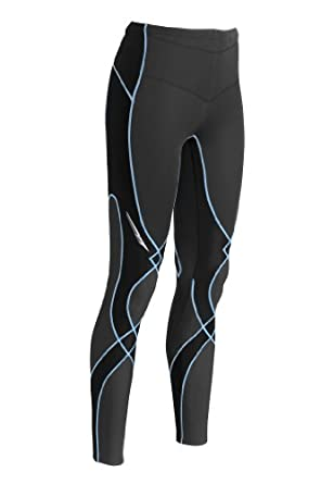 CW-X Women's Insulator Stabilyx Tights, Black/Periwinkle, Large