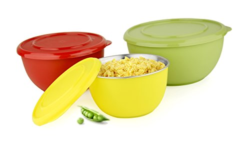 LIEFDE MICRO WAVE SAFE STAINLESS STEEL PLASTIC COATED SERVING BOWL(SET OF 3)