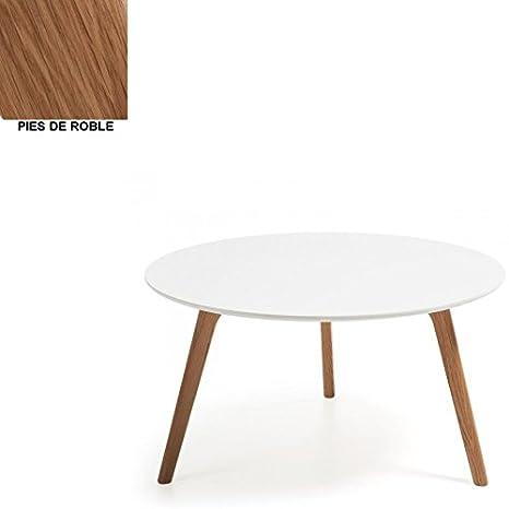 Mesa de centro con pies de roble 90 cm , Selección Cabana