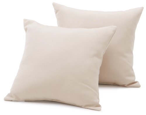 Strathwood Basics Sunbrella 16-by-16-Inch Throw Pillow, Set of 2, Antique Beige