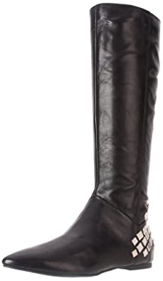 Nine West Women's Sorority Knee-High Boot,Black Leather,9 M US