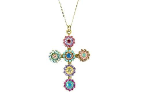 Michal Golan Shimmering Crystal Cross Pommee on Chain