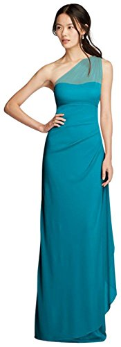 Long Mesh One Shoulder Illusion Bridesmaid Dress Style F19074, Oasis, 16 (Davids Bridal Long Dress Oasis compare prices)