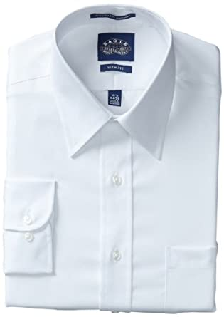 Eagle Men's 100% Cotton Pinpoint Non Iron Slim Fit Point Collar Long Sleeve Dress Shirt (14.5 - 32/33, White)