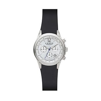 Men's Designer Watch with Silver White Sunray Dial and Moulded Silicone Strap