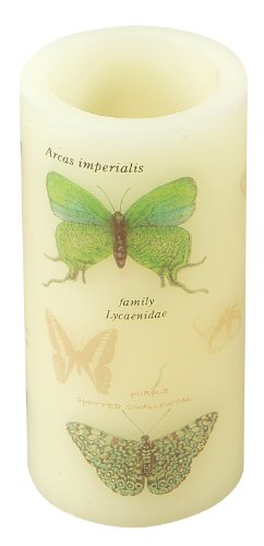 Melrose International 3-Inch By 6-Inch Led Candle With A Butterfly Pattern, Cream