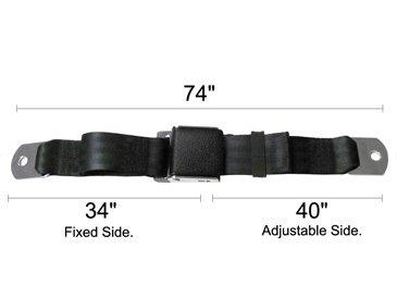 """Black Wrinkle Lift Latch Seat Belt, 74"""" Long, front-919181"""