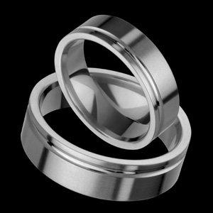 Caresse - size 4.25 Flat Style Titanium Wedding Band Set