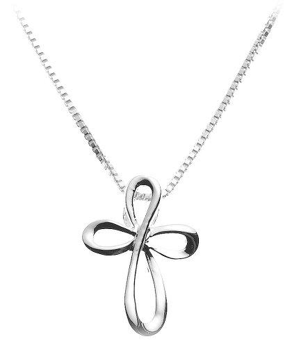 Sterling Silver Eternity Cross Pendant, 18 Inch