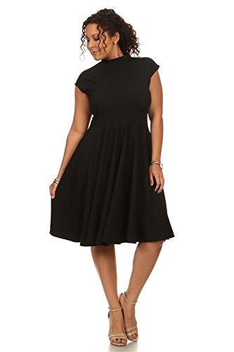 Womens Short Sleeve Knit Fit and Flare Crew Neck Pleated Bottom Plus Size Dress, Collared Black, 4X Plus