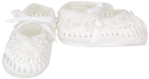 Country Kids Baby-Girls Infant Pearl Ribbon Shoe, White, 0-6 Months