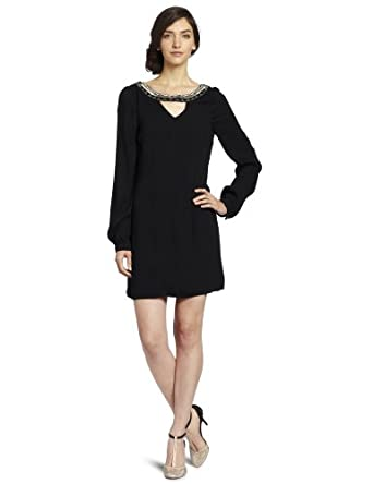 Twelfth Street by Cynthia Vincent Women's Drop Back Embellished Shift Dress, Black, Small