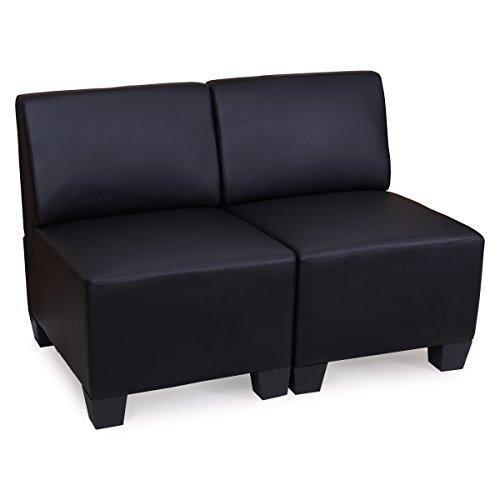 Modular-2-Sitzer-Sofa-Couch-Lyon-Kunstleder-schwarz-ohne-Armlehnen