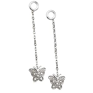 Click to buy Sterling Silver Diamond Butterfly Drop Earring Jackets from Amazon!
