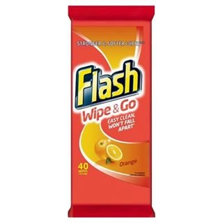 Flash Wipe & Go-Confezione da 40 salviette, colore: Arancione