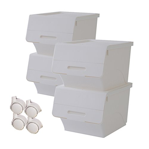 RoomClip商品情報 - 山善(YAMAZEN) 収納ボックス フタ付き フロック 深型 4個組 キャスター付き オールホワイト FR-30*4C(WH)